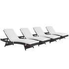 Modway Convene Chaise Outdoor Patio Upholstered Fabric Set of 4 in Espresso White MY-EEI-2429-EXP-WHI-SET