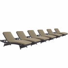 Modway Convene Chaise Outdoor Patio Upholstered Fabric Set of 6 in Espresso Mocha MY-EEI-2430-EXP-MOC-SET