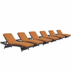 Modway Convene Chaise Outdoor Patio Upholstered Fabric Set of 6 in Espresso Orange MY-EEI-2430-EXP-ORA-SET