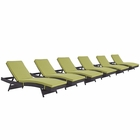 Modway Convene Chaise Outdoor Patio Upholstered Fabric Set of 6 in Espresso Peridot MY-EEI-2430-EXP-PER-SET