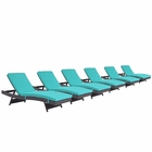 Modway Convene Chaise Outdoor Patio Upholstered Fabric Set of 6 in Espresso Turquoise MY-EEI-2430-EXP-TRQ-SET