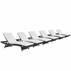 Modway Convene Chaise Outdoor Patio Upholstered Fabric Set of 6 in Espresso White MY-EEI-2430-EXP-WHI-SET