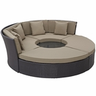 Modway Convene Circular Outdoor Patio Wicker Rattan Daybed Set in Espresso Mocha MY-EEI-2171-EXP-MOC-SET