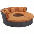 Modway Convene Circular Outdoor Patio Wicker Rattan Daybed Set in Espresso Orange MY-EEI-2171-EXP-ORA-SET