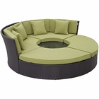 Modway Convene Circular Outdoor Patio Wicker Rattan Daybed Set in Espresso Peridot MY-EEI-2171-EXP-PER-SET