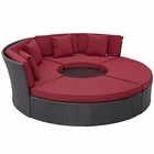 Modway Convene Circular Outdoor Patio Wicker Rattan Daybed Set in Espresso Red MY-EEI-2171-EXP-RED-SET
