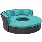 Modway Convene Circular Outdoor Patio Wicker Rattan Daybed Set in Espresso Turquoise MY-EEI-2171-EXP-TRQ-SET