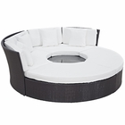 Modway Convene Circular Outdoor Patio Wicker Rattan Daybed Set in Espresso White MY-EEI-2171-EXP-WHI-SET