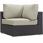Modway Convene Corner Outdoor Patio Wicker Rattan Sectional Set in Espresso Beige MY-EEI-1840-EXP-BEI