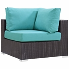 Modway Convene Corner Outdoor Patio Wicker Rattan Sectional Set in Espresso Turquoise MY-EEI-1840-EXP-TRQ