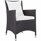 Modway Convene Dining Outdoor Patio Wicker Rattan Armchair in Espresso White MY-EEI-1913-EXP-WHI