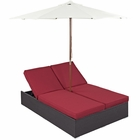 Modway Convene Double Outdoor Patio Wicker Rattan Chaise in Espresso Red MY-EEI-2180-EXP-RED-SET