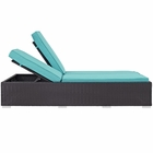 Modway Convene Double Outdoor Patio Wicker Rattan Chaise in Espresso Turquoise MY-EEI-2177-EXP-TRQ