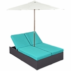 Modway Convene Double Outdoor Patio Wicker Rattan Chaise in Espresso Turquoise MY-EEI-2180-EXP-TRQ-SET