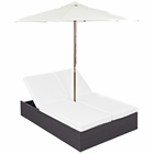 Modway Convene Double Outdoor Patio Wicker Rattan Chaise in Espresso White MY-EEI-2180-EXP-WHI-SET