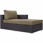 Modway Convene Outdoor Patio Fabric Right Arm Chaise in Espresso Mocha MY-EEI-1843-EXP-MOC