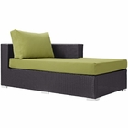 Modway Convene Outdoor Patio Fabric Right Arm Chaise in Espresso Peridot MY-EEI-1843-EXP-PER