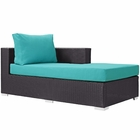 Modway Convene Outdoor Patio Fabric Right Arm Chaise in Espresso Turquoise MY-EEI-1843-EXP-TRQ