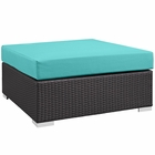 Modway Convene Outdoor Patio Large Square Ottoman in Espresso Turquoise MY-EEI-1845-EXP-TRQ
