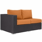 Modway Convene Outdoor Patio Left Arm Loveseat in Espresso Orange MY-EEI-1842-EXP-ORA