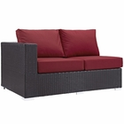 Modway Convene Outdoor Patio Left Arm Loveseat in Espresso Red MY-EEI-1842-EXP-RED