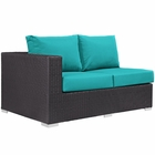 Modway Convene Outdoor Patio Left Arm Loveseat in Espresso Turquoise MY-EEI-1842-EXP-TRQ
