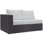 Modway Convene Outdoor Patio Left Arm Loveseat in Espresso White MY-EEI-1842-EXP-WHI