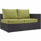 Modway Convene Outdoor Patio Right Arm Loveseat in Espresso Peridot MY-EEI-1841-EXP-PER