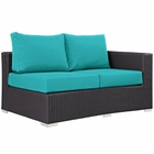 Modway Convene Outdoor Patio Right Arm Loveseat in Espresso Turquoise MY-EEI-1841-EXP-TRQ