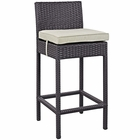 Modway Convene Outdoor Patio Upholstered Fabric Bar Stool in Beige