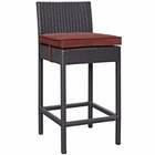 Modway Convene Outdoor Patio Upholstered Fabric Bar Stool in Currant