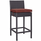 Modway Convene Outdoor Patio Upholstered Fabric Bar Stool in Espresso Currant MY-EEI-1006-EXP-CUR