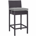 Modway Convene Outdoor Patio Upholstered Fabric Bar Stool in Espresso  Gray MY-EEI-1006-EXP-GRY