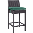 Modway Convene Outdoor Patio Upholstered Fabric Bar Stool in Espresso Green MY-EEI-1006-EXP-GRN