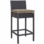 Modway Convene Outdoor Patio Upholstered Fabric Bar Stool in Espresso Mocha MY-EEI-1006-EXP-MOC