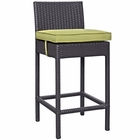 Modway Convene Outdoor Patio Upholstered Fabric Bar Stool in Espresso Peridot MY-EEI-1006-EXP-PER