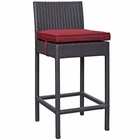 Modway Convene Outdoor Patio Upholstered Fabric Bar Stool in Espresso Red MY-EEI-1006-EXP-RED