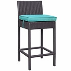 Modway Convene Outdoor Patio Upholstered Fabric Bar Stool in Espresso Turquoise MY-EEI-1006-EXP-TRQ
