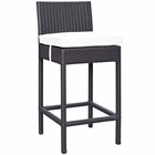 Modway Convene Outdoor Patio Upholstered Fabric Bar Stool in Espresso White MY-EEI-1006-EXP-WHI