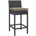 Modway Convene Outdoor Patio Upholstered Fabric Bar Stool in Mocha