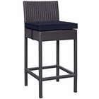 Modway Convene Outdoor Patio Upholstered Fabric Bar Stool in Navy
