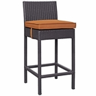 Modway Convene Outdoor Patio Upholstered Fabric Bar Stool in Orange