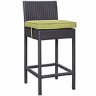 Modway Convene Outdoor Patio Upholstered Fabric Bar Stool in Peridot