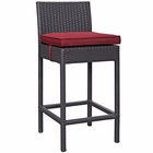 Modway Convene Outdoor Patio Upholstered Fabric Bar Stool in Red