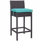 Modway Convene Outdoor Patio Upholstered Fabric Bar Stool in Turquoise