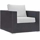 Modway Convene Outdoor Patio Wicker Rattan Armchair in Espresso White MY-EEI-1906-EXP-WHI
