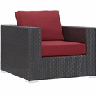 Modway Convene Outdoor Patio Wicker Rattan Armchair in Red MY-EEI-1906-EXP-RED