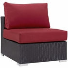 Modway Convene Outdoor Patio Wicker Rattan Armless Sofa in Espresso Red MY-EEI-1910-EXP-RED