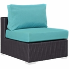 Modway Convene Outdoor Patio Wicker Rattan Armless Sofa in Espresso Turquoise MY-EEI-1910-EXP-TRQ