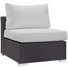 Modway Convene Outdoor Patio Wicker Rattan Armless Sofa in Espresso White MY-EEI-1910-EXP-WHI